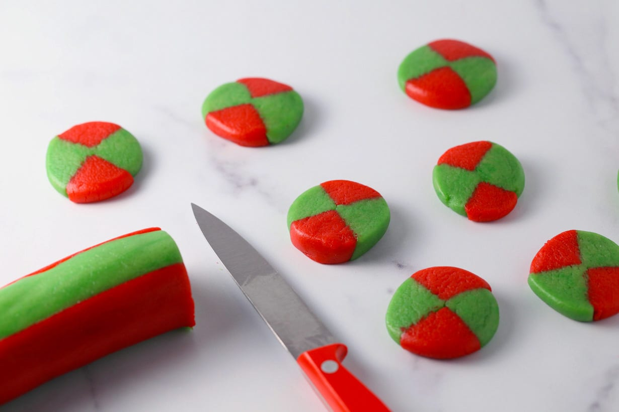 Slice and bake checkerboard pattern shortbread cookies for christmas
