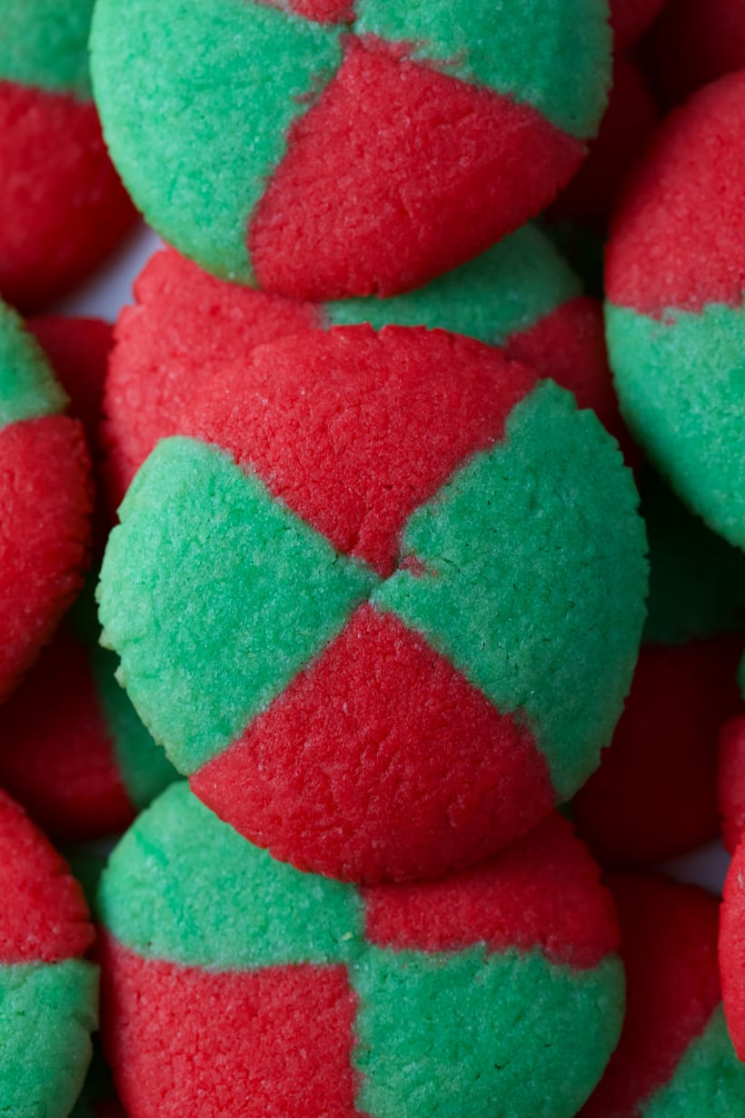 Colorful red and green cookies for Christmas