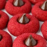 Gluten free red velvet blossoms cookies with hershey's kisses recipe