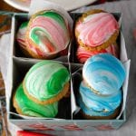 Marbled royal icing gingerbread cookies for santa