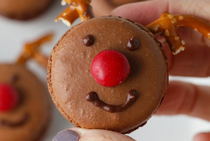 Rudolph the red nosed reindeer chocolate macarons recipe for Santa at Christmas