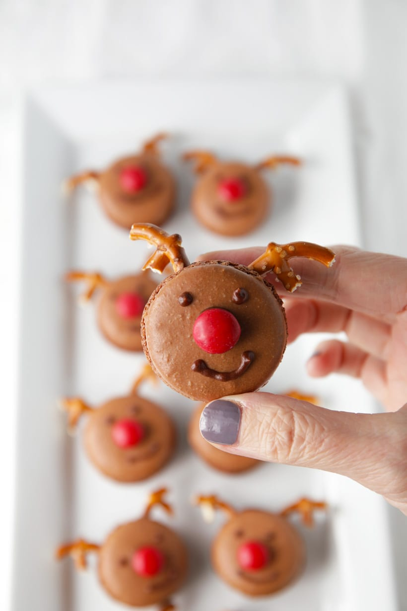 Rudolph Reindeer chocolate French macarons recipe