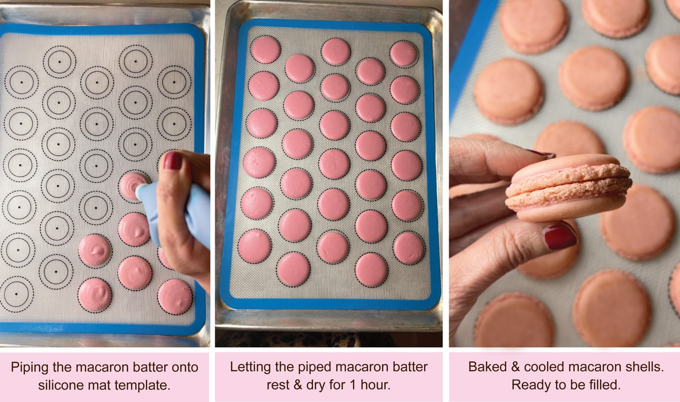 Piping French macaron batter on cookie sheet