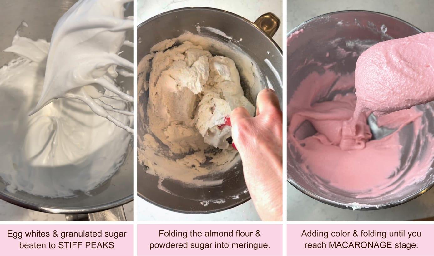 Meringue with folded in almond flour powdered sugar