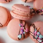 Pink French macarons with strawberry buttercream filling