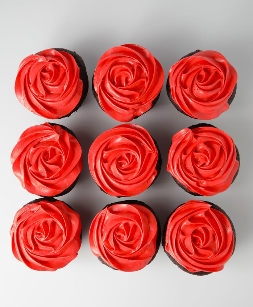 Red rose cupcakes with sweetened condensed milk buttercream