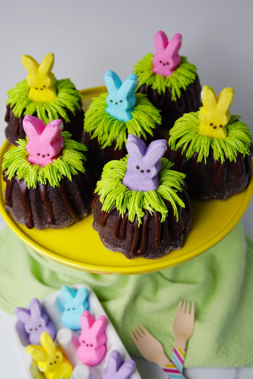 Easter bunny bundt cakes with PEEPS