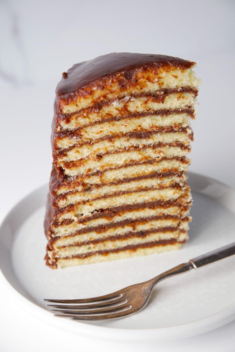 Slice of little layers chocolate cake