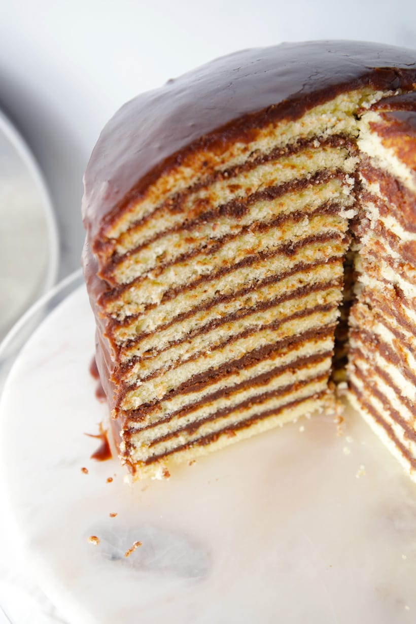 Yellow cake with boiled chocolate frosting