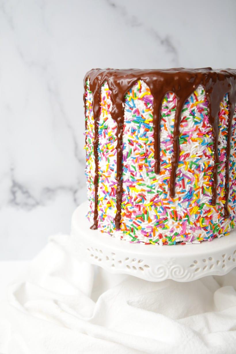 Rainbow Sprinkles Chocolate Drip Cake