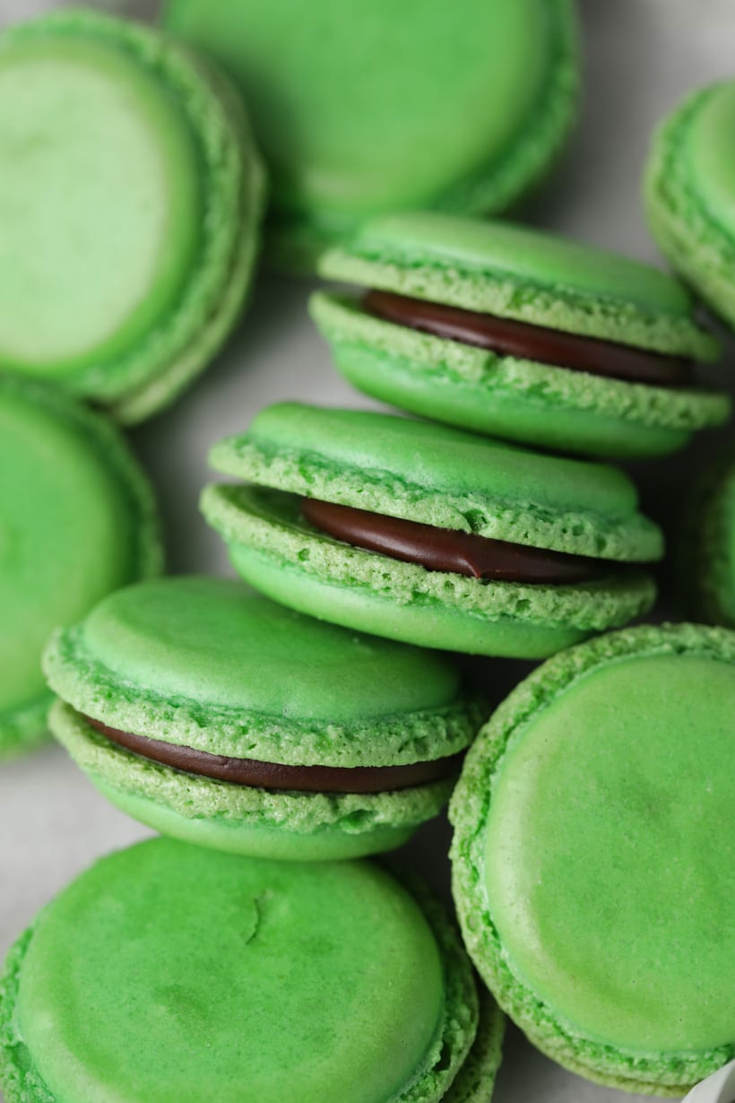 Mint green macarons with mint chocolate ganache filling