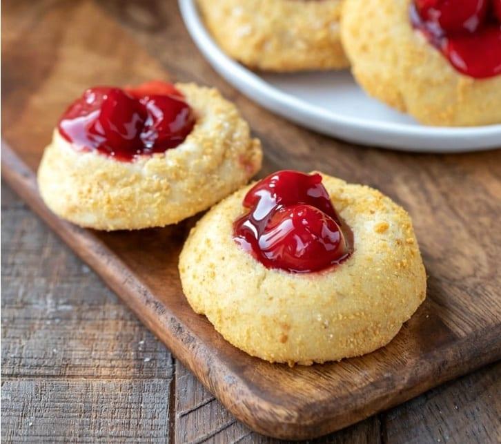 Cherry cheesecake thumbprint cookies