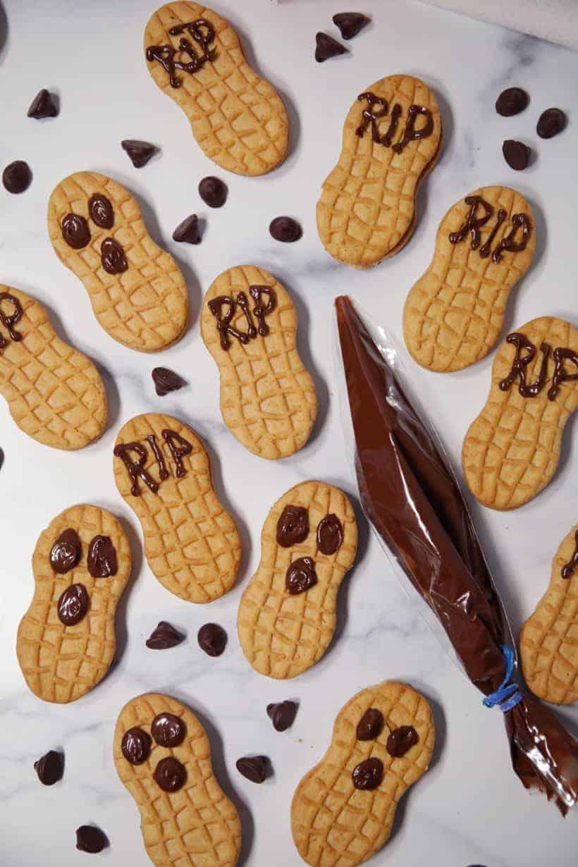 Nutter butter cookie tombstones